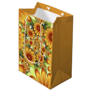 Floral Dream, Modern Abstract Flower Fractal Art Medium Gift Bag