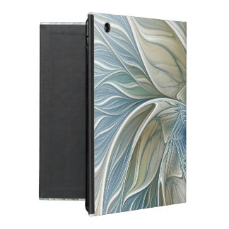 Floral Dream Pattern Abstract Blue Khaki Fractal Covers For iPad