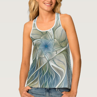 Floral Dream Pattern Abstract Blue Khaki Fractal Tank Top
