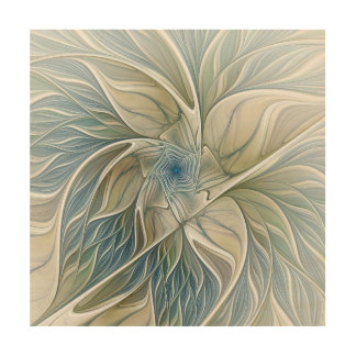 Floral Dream Pattern Abstract Blue Khaki Fractal Wood Print