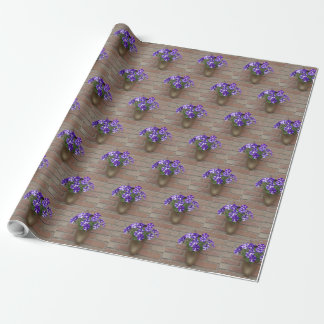 Floral Dutch Clog Purple Blue White Violet Wall Wrapping Paper