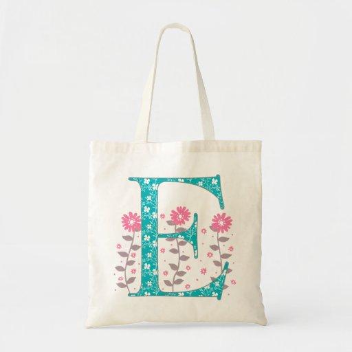 Floral 'E' Monogram Tote Bag