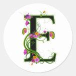 Floral E Round Sticker