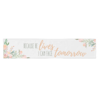 Floral Easter Spring Bible verse Table Runner