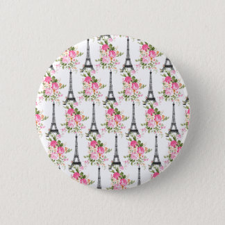 Floral Eiffel Tower 6 Cm Round Badge
