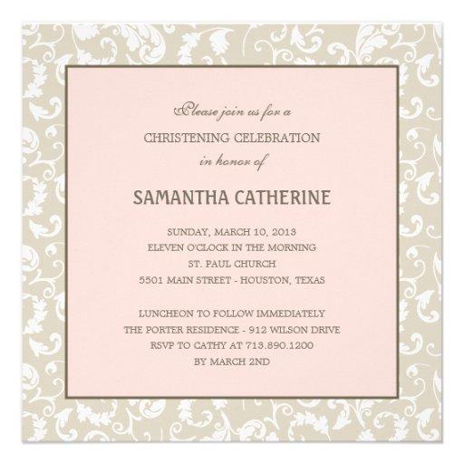 Floral Elegance Baptism/Christening Invitation Invite