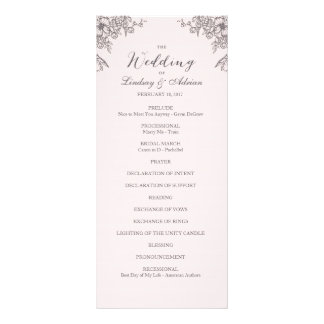 Floral Elegance Wedding Program Customised Rack Card