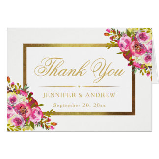 Floral Elegant Chic Gold Frame Thank You Card