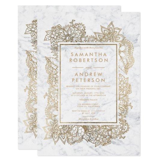 Floral elegant faux gold frame marble wedding card