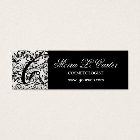Floral Elegant Monogram Damask Black  Lace Mini Business Card