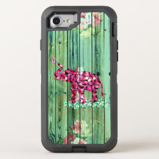 Floral elephant pink sakura green striped wood OtterBox defender iPhone 8/7 case