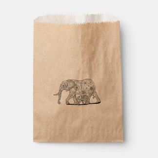 Floral Elephants Line Art Design Favour Bags