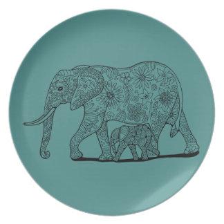 Floral Elephants Line Art Design Plate