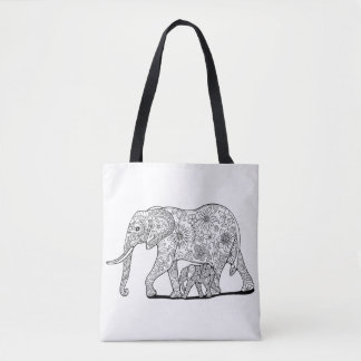 Floral Elephants Tote Bag