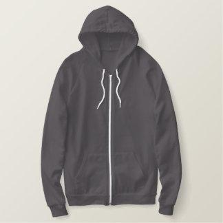Floral embroidered ladies zip up hooded jacket