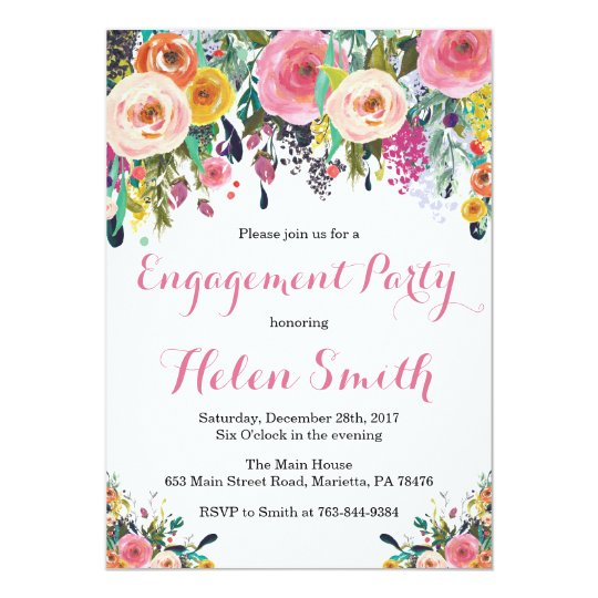 Floral Engagement Party Invitation Card Watercolor