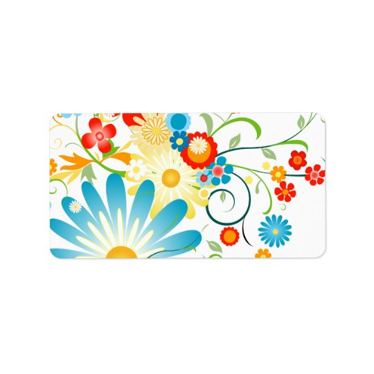 Floral Explosion of Colour Address Label