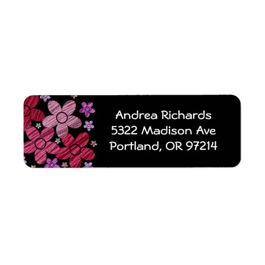 Floral Explosion on Black Address Label