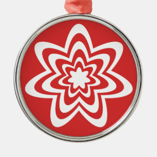 Floral Explosion Premium Round Ornament, Red Silver-Colored Round Decoration