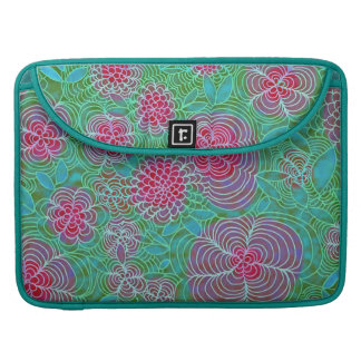Floral Extravaganza Colorful Flowers Doodle Teal Sleeve For MacBook Pro