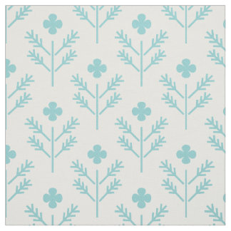 Floral fabric with four leaves clover and trees