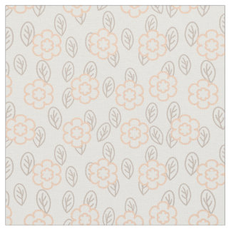 Floral fabric with leaves and five petals flowers