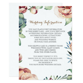 floral fall ivory wedding information insert 11 cm x 16 cm invitation card