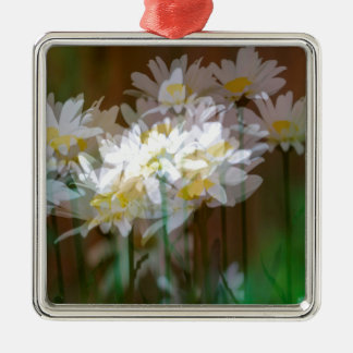 Floral Fantasies Silver-Colored Square Decoration