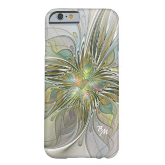 Floral Fantasy Abstract Fractal Flower Monogram Barely There iPhone 6 Case