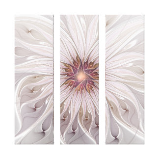 Floral Fantasy, Abstract Modern Flower Triptych Canvas Print