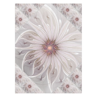 Floral Fantasy, Abstract Modern Pastel Flower Tablecloth