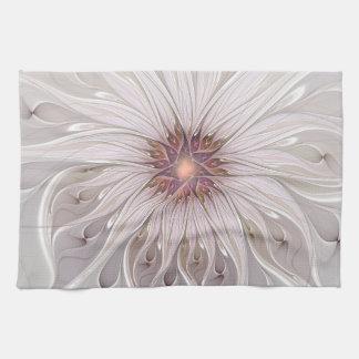 Floral Fantasy, Abstract Modern Pastel Flower Tea Towel