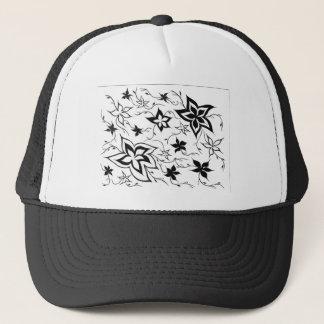 Floral fantasy b/w trucker hat