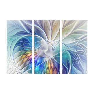 Floral Fantasy, Colorful Abstract Flower Triptych Canvas Print