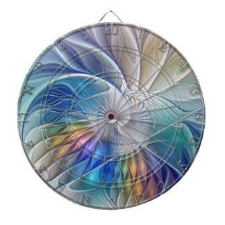 Floral Fantasy, Colorful Abstract Fractal Flower Dartboard