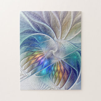 Floral Fantasy, Colorful Abstract Fractal Flower Jigsaw Puzzle