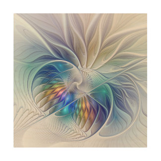 Floral Fantasy, Colorful Abstract Fractal Flower Wood Wall Art