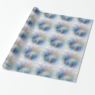 Floral Fantasy, Colorful Abstract Fractal Flower Wrapping Paper