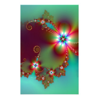 Floral Fantasy Fractal Customized Stationery