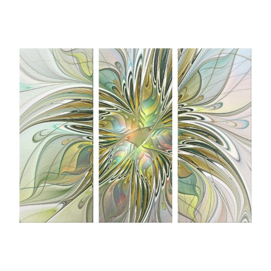 Floral Fantasy Modern Flower With Gold Triptych Canvas