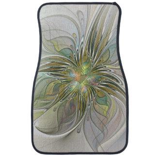 Floral Fantasy Modern Fractal Art Flower With Gold Car Mat