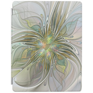 Floral Fantasy Modern Fractal Art Flower With Gold iPad Cover
