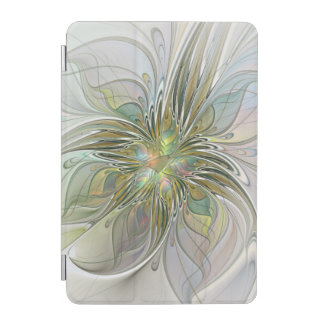 Floral Fantasy Modern Fractal Art Flower With Gold iPad Mini Cover