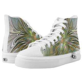 Floral Fantasy Modern Fractal Art Flower With Gold Printed Shoes