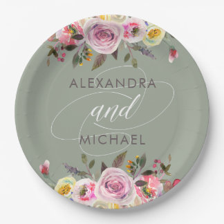 Floral Fantasy   Modern Watercolor Wedding Paper Plate