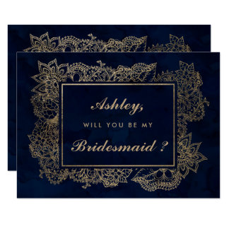 Floral faux gold navy watercolor be my bridesmaid card