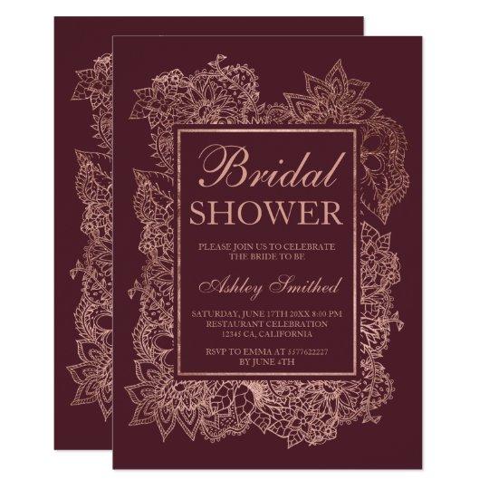 Floral faux rose gold burgundy bridal shower card