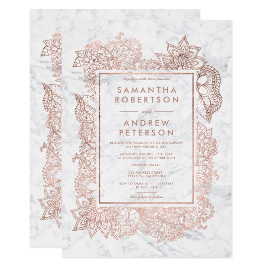 Floral faux rose gold frame marble wedding card