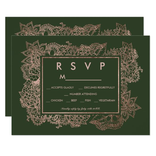 Floral faux rose gold hunter green RSVP wedding