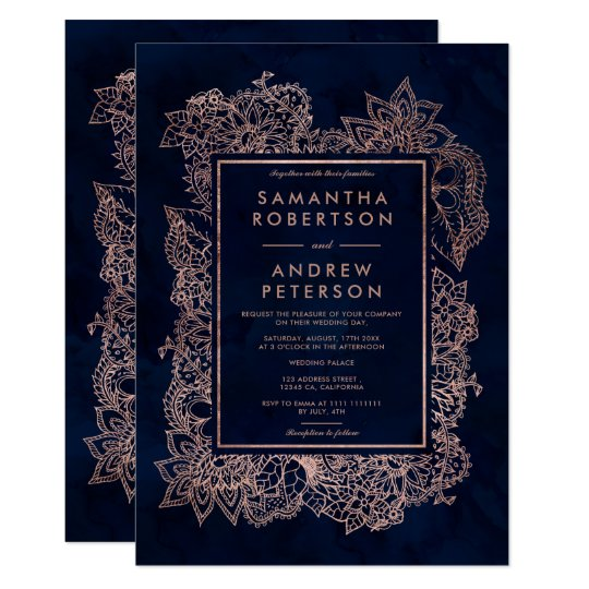 Floral faux rose gold navy blue watercolor wedding